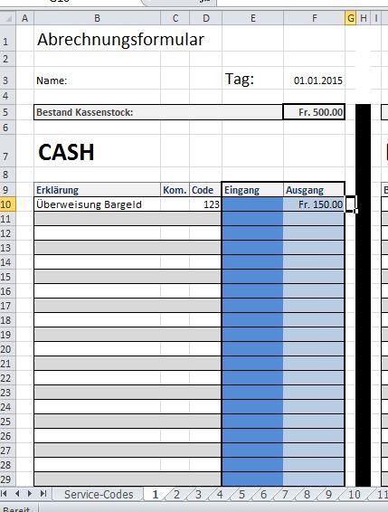 Excel: Programmierung Arbeitsblatt